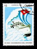 Yacht Granma, Revolutionary Armed Forces, 40th anniv serie, circ. MOSCOW, RUSSIA - NOVEMBER 25, 2017: A stamp printed in Cuba shows Yacht Granma, Revolutionary Stock Photography