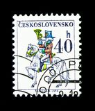 Post rider, Postal emblems serie, circa 1974. MOSCOW, RUSSIA - NOVEMBER 26, 2017: A stamp printed in Czechoslovakia shows Post rider, Postal emblems serie, circa stock photo