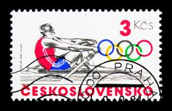 Rowing, Olympic Games 1984 - Los Angeles serie, circa 1984. MOSCOW, RUSSIA - NOVEMBER 26, 2017: A stamp printed in Czechoslovakia shows Rowing, Olympic Games stock photography