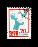 Goat Capra aegagrus hircus, Farm Animals serie, circa 1990. MOSCOW, RUSSIA - NOVEMBER 24, 2017: A stamp printed in Democratic People`s republic of Korea shows Royalty Free Stock Photo