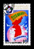 Map of North Korea, 13th World Festival of Youth and Students, Pyongyang I serie, circa 1988. MOSCOW, RUSSIA - NOVEMBER 24, 2017: A stamp printed in Democratic stock photos