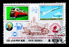 North Korean stamps MiNr. 1559 and 1787, 40th anniversary serie,. MOSCOW, RUSSIA - NOVEMBER 25, 2017: A stamp printed in Democratic People's republic of stock photos
