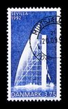 Danish Pavilion, World Exhibition Seville, EXPO World Exhibitions serie, circa 1992. MOSCOW, RUSSIA - NOVEMBER 23, 2017: A stamp printed in Denmark shows Danish Royalty Free Stock Photo