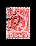 King Christian X, serie, circa 1945. MOSCOW, RUSSIA - NOVEMBER 23, 2017: A stamp printed in Denmark shows King Christian X, serie, circa 1945 Stock Image