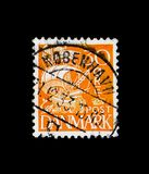 Sailship, Customs Service - 350th Anniversary serie, circa 1933. MOSCOW, RUSSIA - NOVEMBER 23, 2017: A stamp printed in Denmark shows Sailship, Customs Service Royalty Free Stock Photography