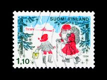 Santa Claus and Christmas Dwarf, serie, circa 1984 Royalty Free Stock Image