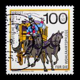 Carriage, Postal history, Welfare: Postal Deliveries serie, circa 1989. MOSCOW, RUSSIA - NOVEMBER 23, 2017: A stamp printed in German Federal Republik shows Stock Images