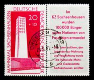 Monument Fascism victims, National Memorials serie, circa 1961. MOSCOW, RUSSIA - NOVEMBER 23, 2017: A stamp printed in Germany DDR shows Monument Fascism victims Stock Image