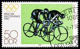 Spurt (S. Schreiber), Summer Olympics 1980, Moscow serie, circa 1980. MOSCOW, RUSSIA - NOVEMBER 10, 2018: A stamp printed in Germany, Democratic Republic shows royalty free stock photo