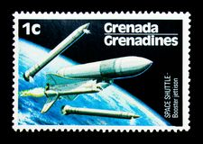 Booster Jettison, US Space Shuttle serie, circa 1978. MOSCOW, RUSSIA - NOVEMBER 26, 2017: A stamp printed in Grenada, Grenadines shows Booster Jettison, US Space Stock Photos