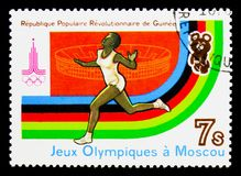 Running, Summer Olympics 1980, Moscow serie, circa 1982. MOSCOW, RUSSIA - NOVEMBER 26, 2017: A stamp printed in Guinea shows Running, Summer Olympics 1980 Stock Photo