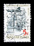 Aircraft over Sopron, 40th Anniversary of Hungarian Airpost Stam. MOSCOW, RUSSIA - NOVEMBER 25, 2017: A stamp printed in Hungary shows Aircraft over Sopron, 40th Royalty Free Stock Photography