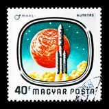 Launch of Viking Mars Spacecraft, Space Research serie, circa 19. MOSCOW, RUSSIA - NOVEMBER 26, 2017: A stamp printed in Hungary shows Launch of Viking Mars Royalty Free Stock Image