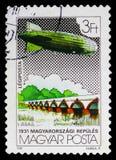 Nine Arch Bridge, Hortobagy, Zeppelin serie, circa 1981. MOSCOW, RUSSIA - NOVEMBER 10, 2018: A stamp printed in Hungary shows Nine Arch Bridge, Hortobagy stock images