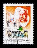 Roald Amundsen, Antarctic Explorers serie, circa 1987. MOSCOW, RUSSIA - NOVEMBER 26, 2017: A stamp printed in Hungary shows Roald Amundsen, Antarctic Explorers stock image