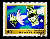 Spacecraft enroute to Mars, Exploration of Mars serie, circa 197. MOSCOW, RUSSIA - NOVEMBER 26, 2017: A stamp printed in Hungary shows Spacecraft enroute to Mars Stock Photography