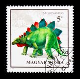 Stegosaurus, Dinosaurs serie, circa 1990. MOSCOW, RUSSIA - NOVEMBER 24, 2017: A stamp printed in Hungary shows Stegosaurus, Dinosaurs serie, circa 1990 Royalty Free Stock Image