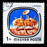 Viking on Mars, Space Research  serie, circa 1976. MOSCOW, RUSSIA - NOVEMBER 26, 2017: A stamp printed in Hungary shows Viking on Mars, Space Research  serie Stock Photography