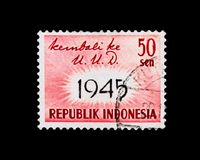 Readoption of 1945 Constitution, serie, circa 1959. MOSCOW, RUSSIA - NOVEMBER 24, 2017: A stamp printed in Indonesia shows Readoption of 1945 Constitution, serie Stock Photos