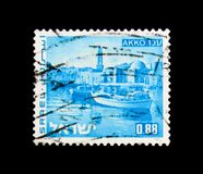 Akko, Landscapes of Israel serie, circa 1971. MOSCOW, RUSSIA - NOVEMBER 23, 2017: A stamp printed in Israel shows Akko, Landscapes of Israel serie, circa 1971 Royalty Free Stock Photography
