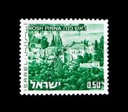 Rosh Pinna, Landscapes of Israel serie, circa 1976. MOSCOW, RUSSIA - NOVEMBER 23, 2017: A stamp printed in Israel shows Rosh Pinna, Landscapes of Israel serie Stock Photo