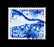 Zefat, Landscapes of Israel serie, circa 1974. MOSCOW, RUSSIA - NOVEMBER 23, 2017: A stamp printed in Israel shows Zefat, Landscapes of Israel serie, circa 1974 Royalty Free Stock Photos