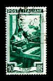 Calabria - the frame, Provincial Occupations serie, circa 1950. MOSCOW, RUSSIA - NOVEMBER 26, 2017: A stamp printed in Italy shows Calabria - the frame royalty free stock photo