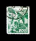 Forestation, Regular Series: Industry Design 1948-49 serie, circa 1949. MOSCOW, RUSSIA - NOVEMBER 23, 2017: A stamp printed in Japan shows Forestation, Regular Stock Photography