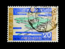 Imperial Palace, 50th Anniversary of the Wedding of Emperor and Empress serie, circa 1974. MOSCOW, RUSSIA - NOVEMBER 23, 2017: A stamp printed in Japan shows Stock Photo