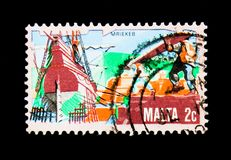 Early Ship-building, serie, circa 1981. MOSCOW, RUSSIA - NOVEMBER 26, 2017: A stamp printed in Malta shows Early Ship-building, serie, circa 1981 stock images