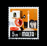 Folklore, Aspects of Malta serie, circa 1973. MOSCOW, RUSSIA - NOVEMBER 23, 2017: A stamp printed in Malta shows Folklore, Aspects of Malta serie, circa 1973 Royalty Free Stock Photo