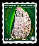 Tlaloc, Prehispanic Monuments 1a. serie, circa 1980. MOSCOW, RUSSIA - NOVEMBER 25, 2017: A stamp printed in Mexico shows Tlaloc, Prehispanic Monuments 1a. serie Royalty Free Stock Photos