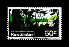 Abel Tasman National Park, Pictorial Definitives serie, circa 1971. MOSCOW, RUSSIA - NOVEMBER 23, 2017: A stamp printed in New Zealand shows Abel Tasman National Stock Image