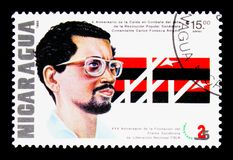 The 10th Anniversary of the Death of Carlos Fonseca Amador, Foun. MOSCOW, RUSSIA - NOVEMBER 26, 2017: A stamp printed in Nicaragua shows The 10th Anniversary of Stock Photo