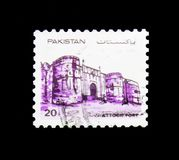 Attock Fort, Forts of Pakistan serie, circa 1984. MOSCOW, RUSSIA - NOVEMBER 23, 2017: A stamp printed in Pakistan shows Attock Fort, Forts of Pakistan serie Stock Photography