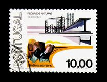 Iron Ore, Subsoil - Cycle of Natural Resources serie, circa 1977. MOSCOW, RUSSIA - NOVEMBER 24, 2017: A stamp printed in Portugal shows Iron Ore, Subsoil - Cycle royalty free stock photo