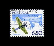 Monoplane and B.A.C. One Eleven airliner, Development of Technology serie, circa 1980. MOSCOW, RUSSIA - NOVEMBER 24, 2017: A stamp printed in Portugal shows Royalty Free Stock Photos