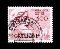 Teixeira Lopes, Portuguese Sculptors serie, circa 1971. MOSCOW, RUSSIA - NOVEMBER 24, 2017: A stamp printed in Portugal shows Teixeira Lopes, Portuguese Stock Image