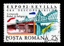 Expo Sevilla, serie, circa 1992. MOSCOW, RUSSIA - NOVEMBER 25, 2017: A stamp printed in Romania shows Expo Sevilla, serie, circa 1992 Royalty Free Stock Image