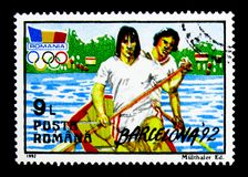 Summer Olympics, Barcelona 1992, serie, circa 1992. MOSCOW, RUSSIA - NOVEMBER 25, 2017: A stamp printed in Romania shows Summer Olympics, Barcelona 1992, serie Stock Photography