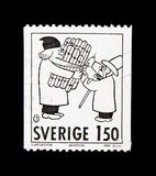 Mr. Adamson, Comics serie, circa 1980. MOSCOW, RUSSIA - NOVEMBER 23, 2017: A stamp printed in Sweden shows Mr. Adamson, Comics serie, circa 1980 royalty free stock image