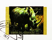 Black Rhinoceros (Diceros bicornis), Rare animals; small format serie, circa 1972. MOSCOW, RUSSIA - NOVEMBER 10, 2018: A stamp printed in Umm Al Quwain shows royalty free stock photos