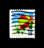 Beach Umbrella, 1989-1990 Regular Issue serie, circa 1990. MOSCOW, RUSSIA - NOVEMBER 24, 2017: A stamp printed in USA shows Beach Umbrella, 1989-1990 Regular Royalty Free Stock Photo