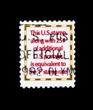 25c postage duty service, circa 1992. MOSCOW, RUSSIA - NOVEMBER 24, 2017: A stamp printed in USA shows 25c postage duty service, circa 1992 Stock Photo