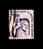Contemplation of Justice by J.E. Fraser, Americana Issue serie, circa 1977. MOSCOW, RUSSIA - NOVEMBER 24, 2017: A stamp printed in USA shows Contemplation of stock photography