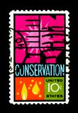 Energy conservation, Energy Conservation Issue serie, circa 1974. MOSCOW, RUSSIA - NOVEMBER 24, 2017: A stamp printed in USA shows Energy conservation, Energy Royalty Free Stock Photography