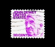 John Dewey, Famous Americans serie, circa 1968. MOSCOW, RUSSIA - NOVEMBER 24, 2017: A stamp printed in USA shows John Dewey, Famous Americans serie, circa 1968 stock images