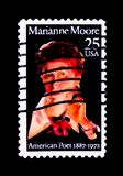 Marianne Craig Moore (1887-1972), Poet, Literary Arts Series, ci. MOSCOW, RUSSIA - NOVEMBER 24, 2017: A stamp printed in USA shows Marianne Craig Moore (1887 Royalty Free Stock Photo
