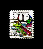 ZIP Code - Mail Transport, 1970-1974 Regular Issue serie, circa 1974. MOSCOW, RUSSIA - NOVEMBER 24, 2017: A stamp printed in USA shows ZIP Code - Mail Transport Stock Photography