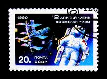 Cosmonautics Day, serie, circa 1990. MOSCOW, RUSSIA - NOVEMBER 24, 2017: A stamp printed in USSR (Russia) shows Cosmonautics Day, serie, circa 1990 Royalty Free Stock Photos